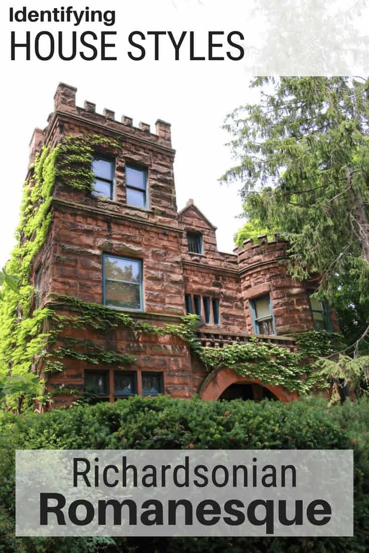 Richardsonian Romanesque homes have towers and stone facades like this home.