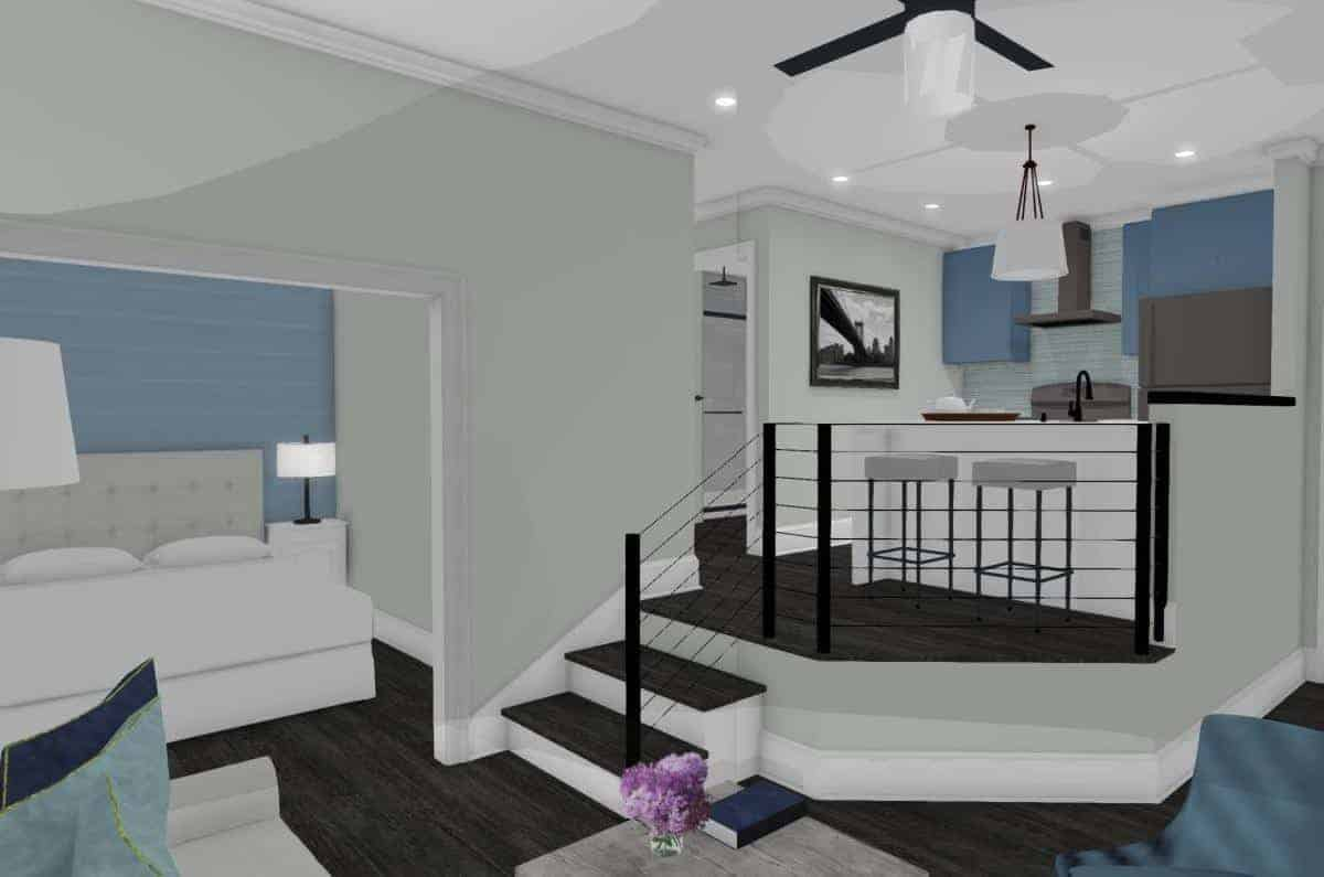 An interior rendering view into the raised kitchen of garage conversion into an apartment.