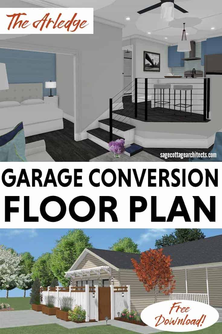 Collage of interior living space and exterior entrance of a garage conversion.