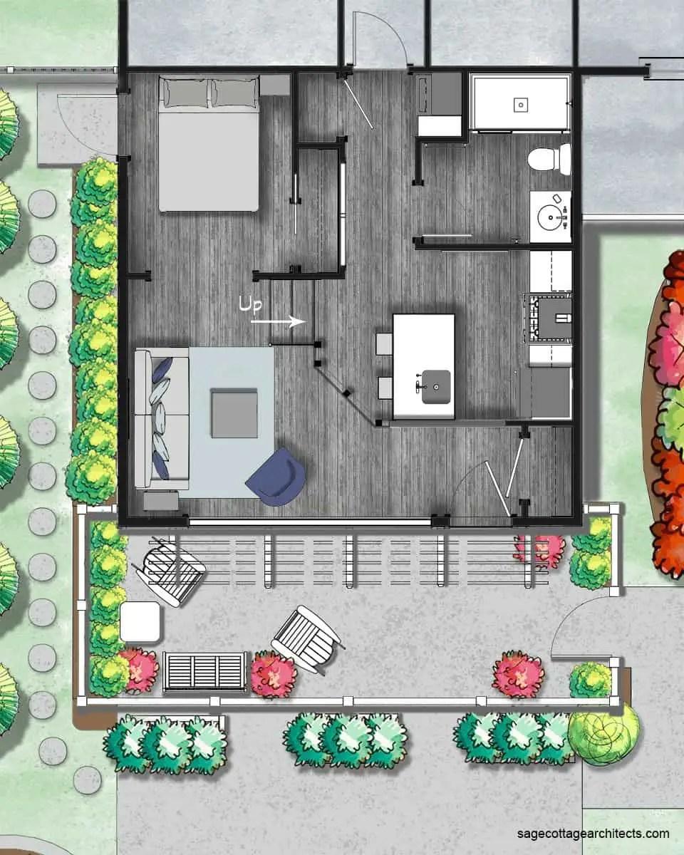 Garage conversion colored floor plan.