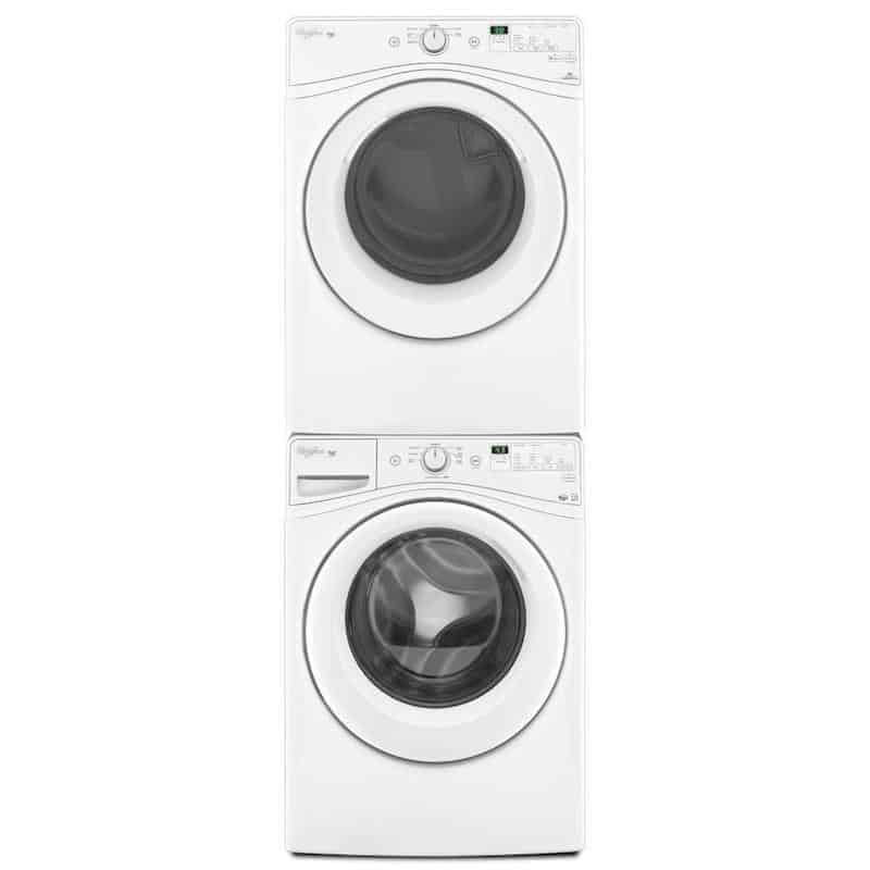 Stacked front load washer and dryer in white