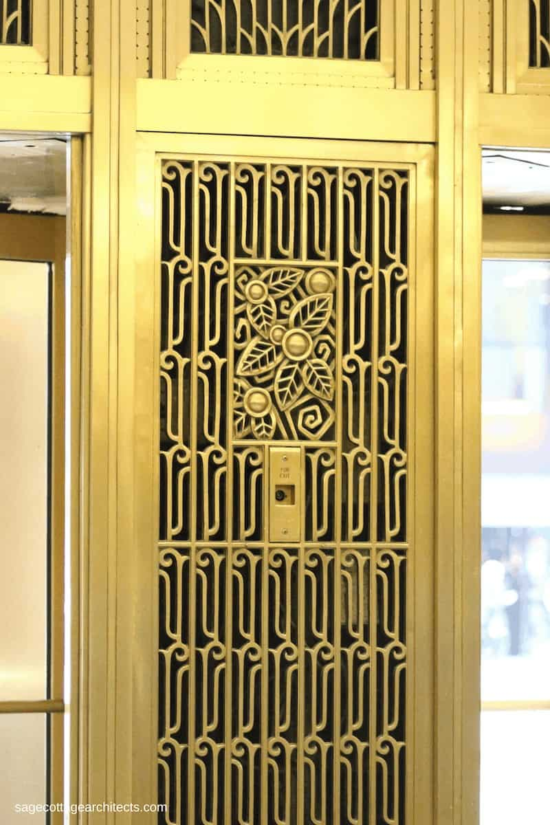 Art Deco decorative grille in gold