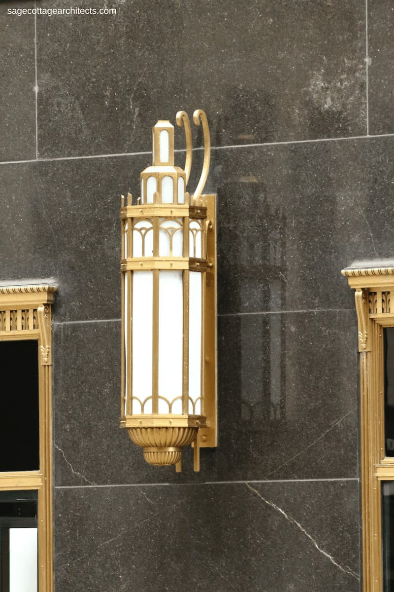Bronze Art Deco exterior light on black granite wall of the Carbide and Carbon Building