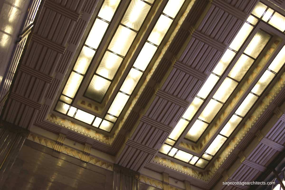 Recessed ceiling lights with Art Deco frosted glass in the lobby of the Carbide and Carbon Building.