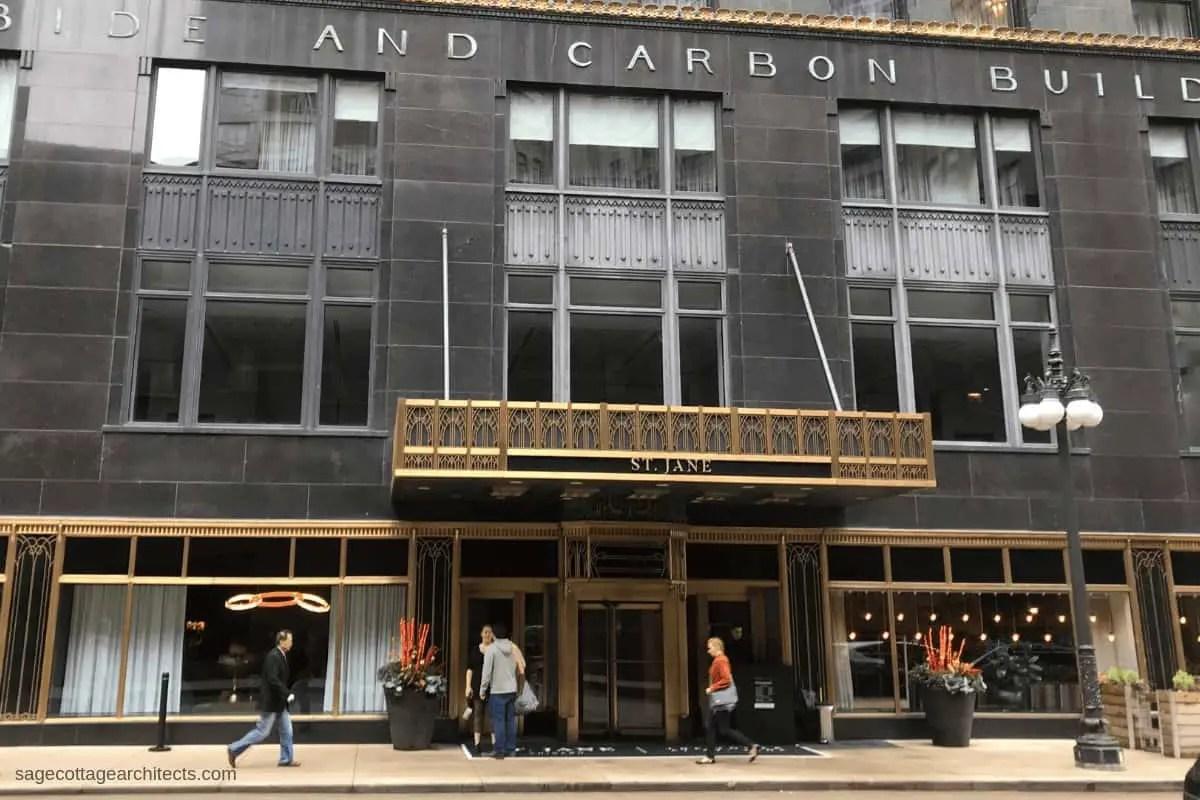 Bronze Art Deco entry canopy on the Carbide and Carbide Building