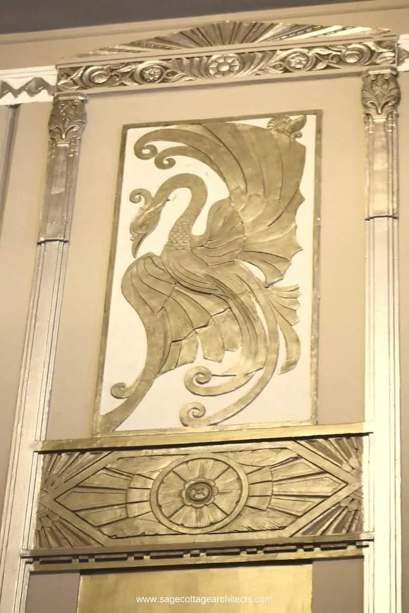 Art Deco nickel relief panel of a bird