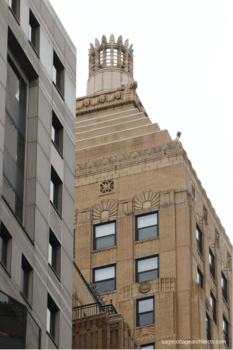 Art Deco Architecture - light tan building top shaped in a ziggurat with a crown.