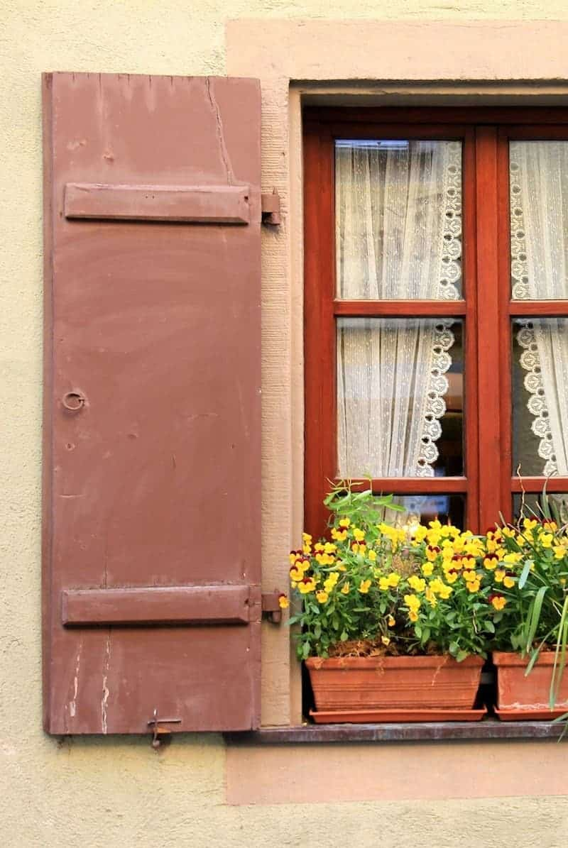 Dark red exterior shutter with window and planter boxes