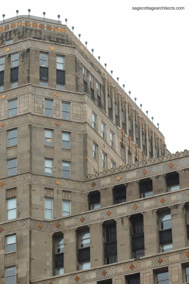 Art Deco building exterior of limestone with chevron carvings