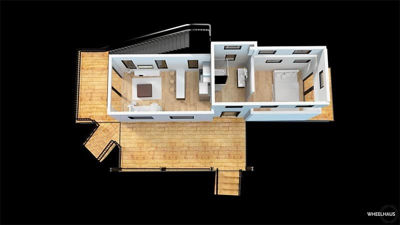 Wheelhaus flat roof Caboose floor plan