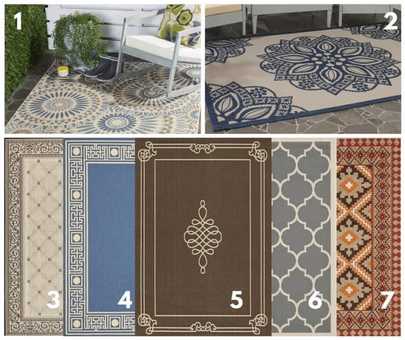 Photo collage of outdoor rugs that are perfect for balcony flooring.