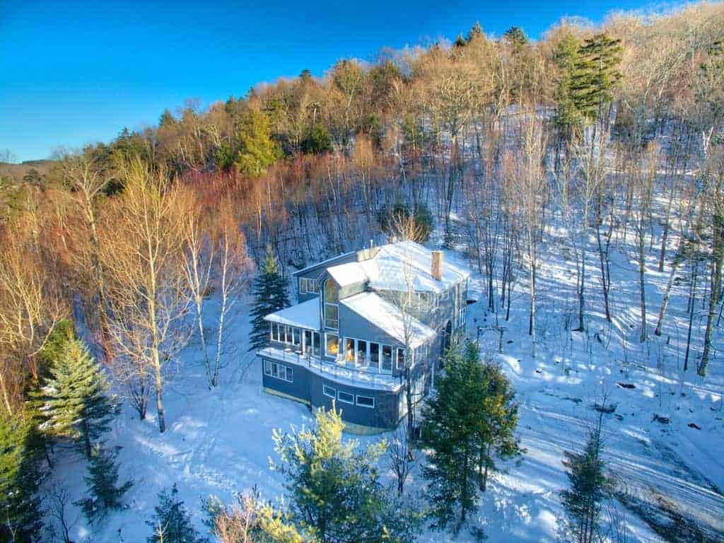 Aerial photo of a contemporary style ski vacation home