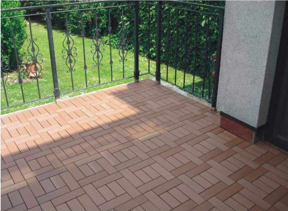 Photo of composite balcony flooring deck tile in dark tan.