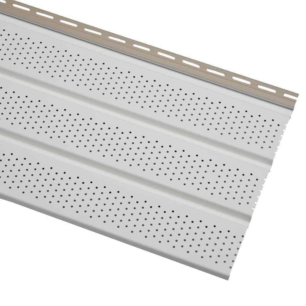Photo of a vinyl soffit vent, which is an important part of attic ventilation