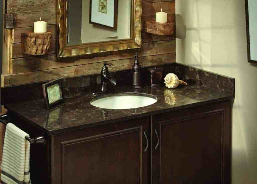 Photo of dark bathroom vanity