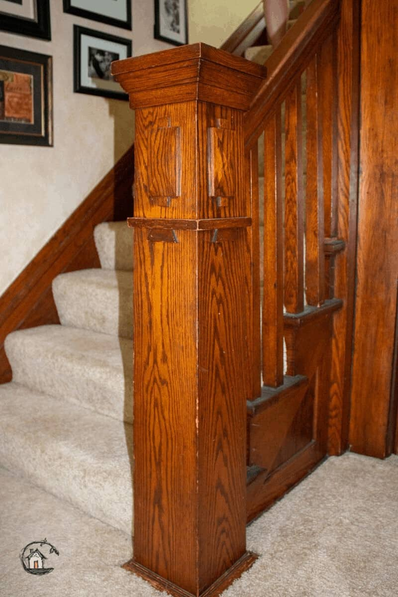Photo of oak stair newel post on Old House Society Tour.