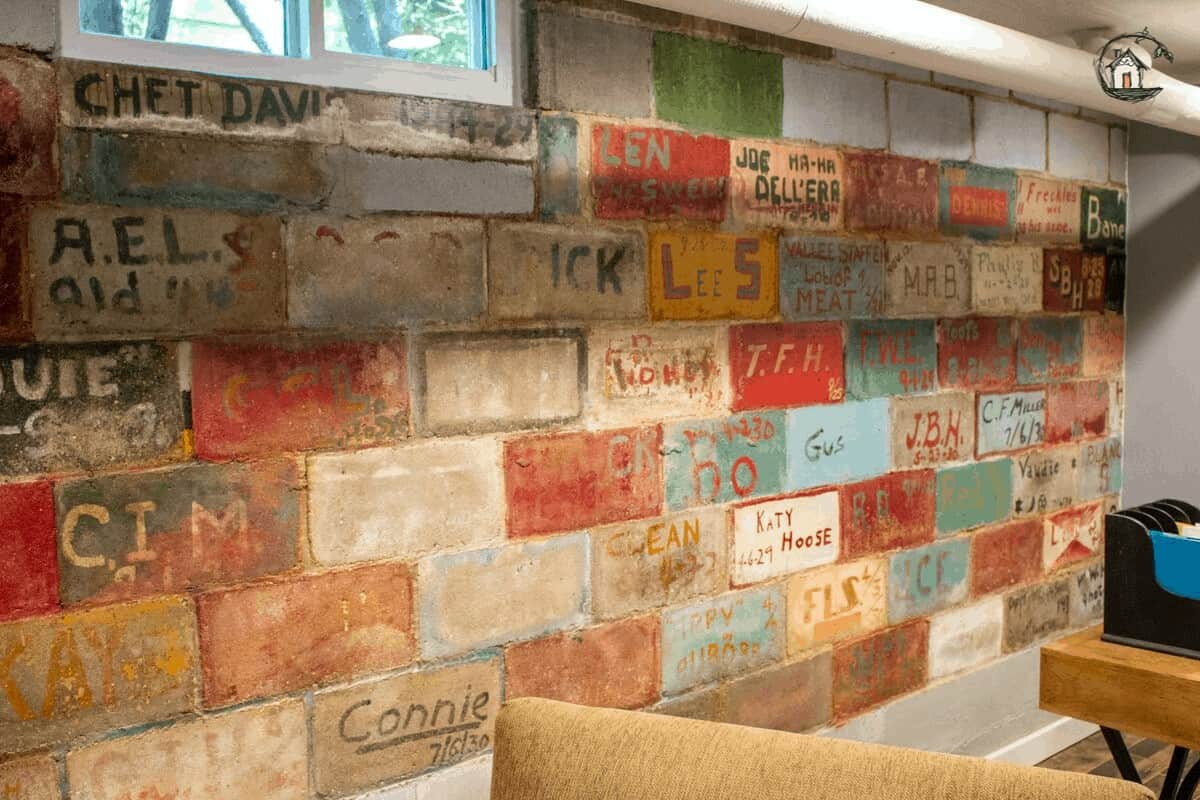 Photo of painted blocks with graffiti on old house tour.