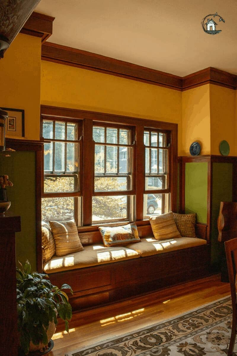 Photo of Arts & Crafts window seat on old house tour.