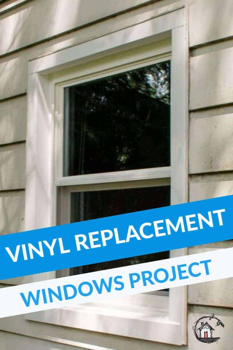 Photo collage of vinyl replacement window project.