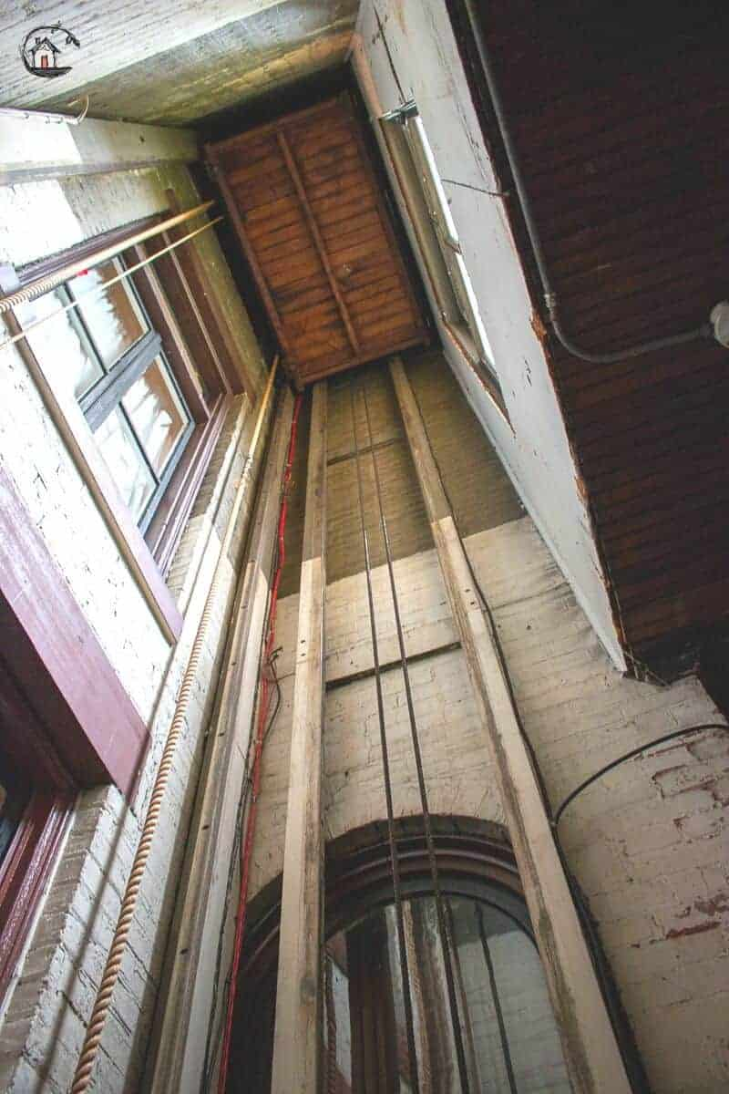 Photo of the luggage lift hoist way inside the Vrooman Mansion.