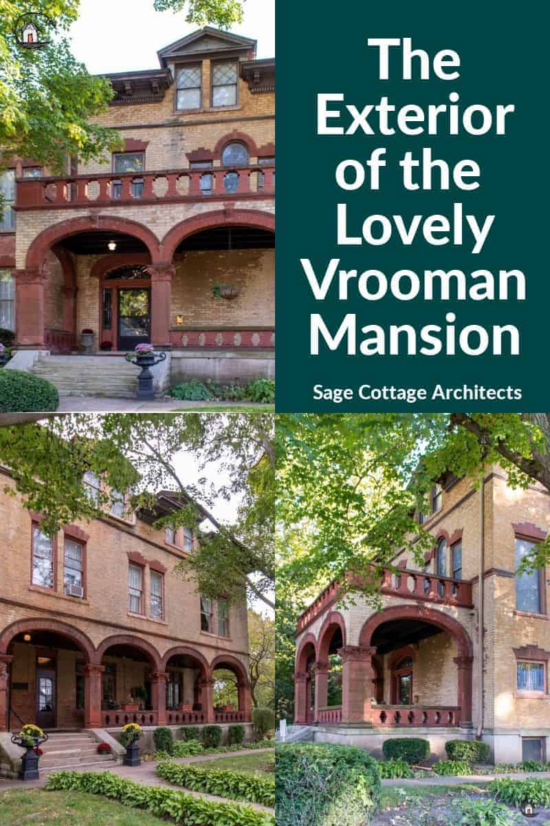 Photo collage of the yellow brick Vrooman Mansion.