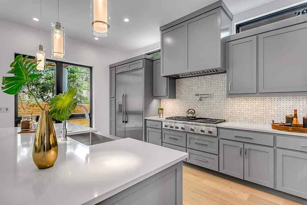 kitchen with grey modern cabinets
