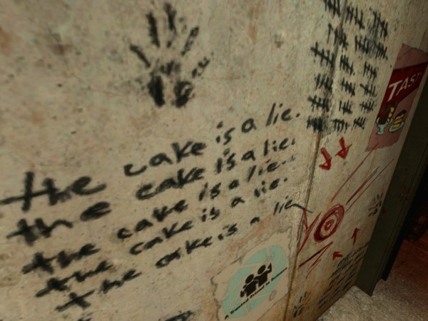 The Cake is a Lie from Portal.