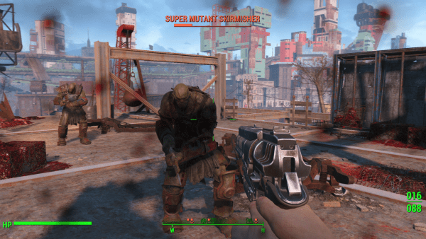 Fighting mutants in Fallout 4.