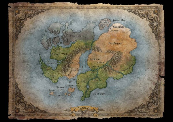 The world map of Sanctuary.