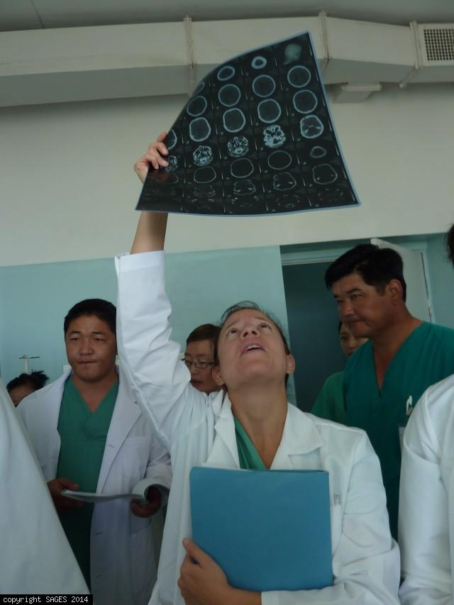 Surgery resident making round Mongolia