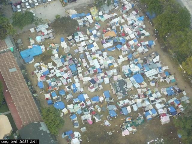 Tent cities from air Haiti 2010