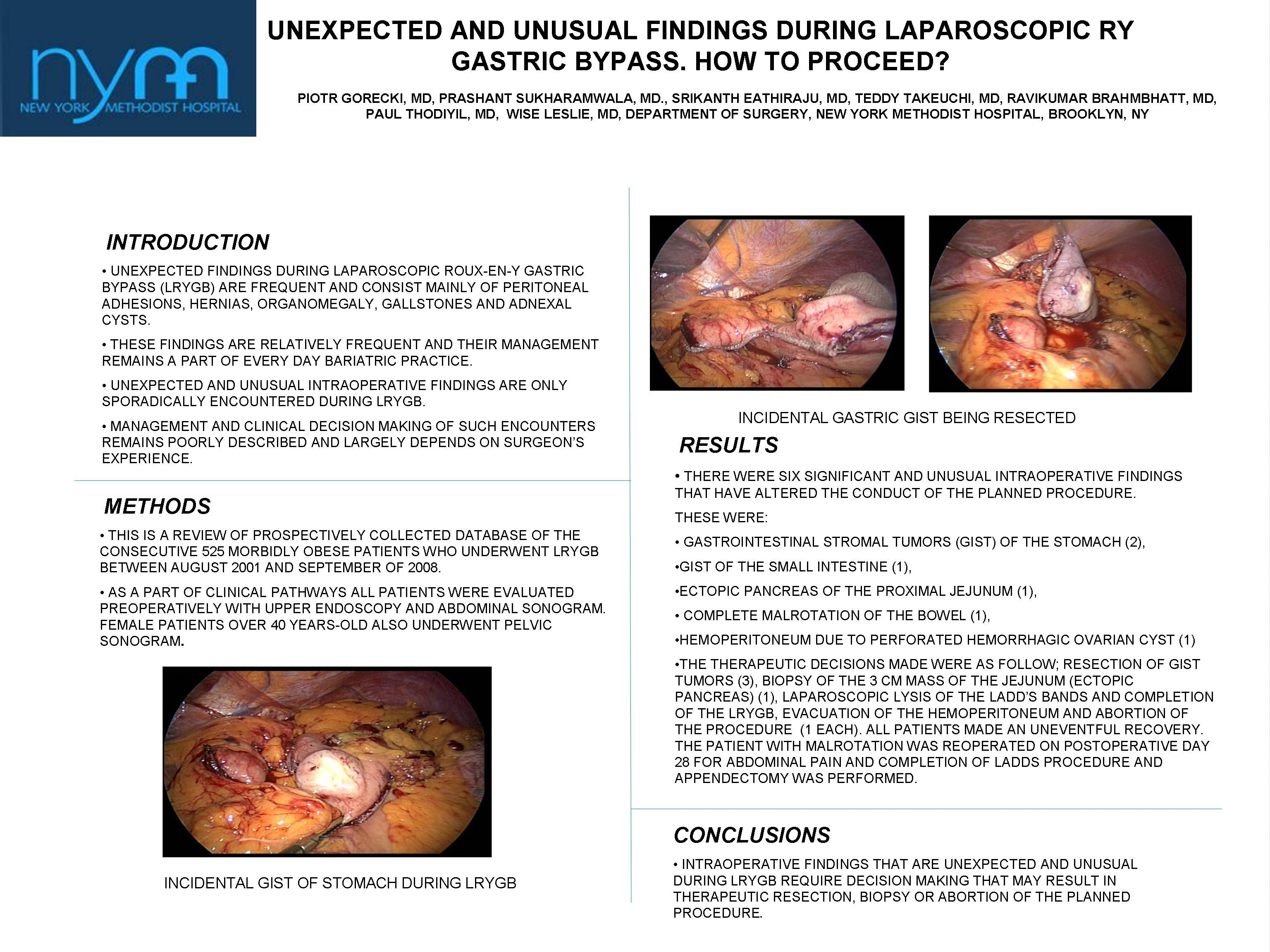 Unexpected And Unusual Findings During Laparoscopic Roux En Y