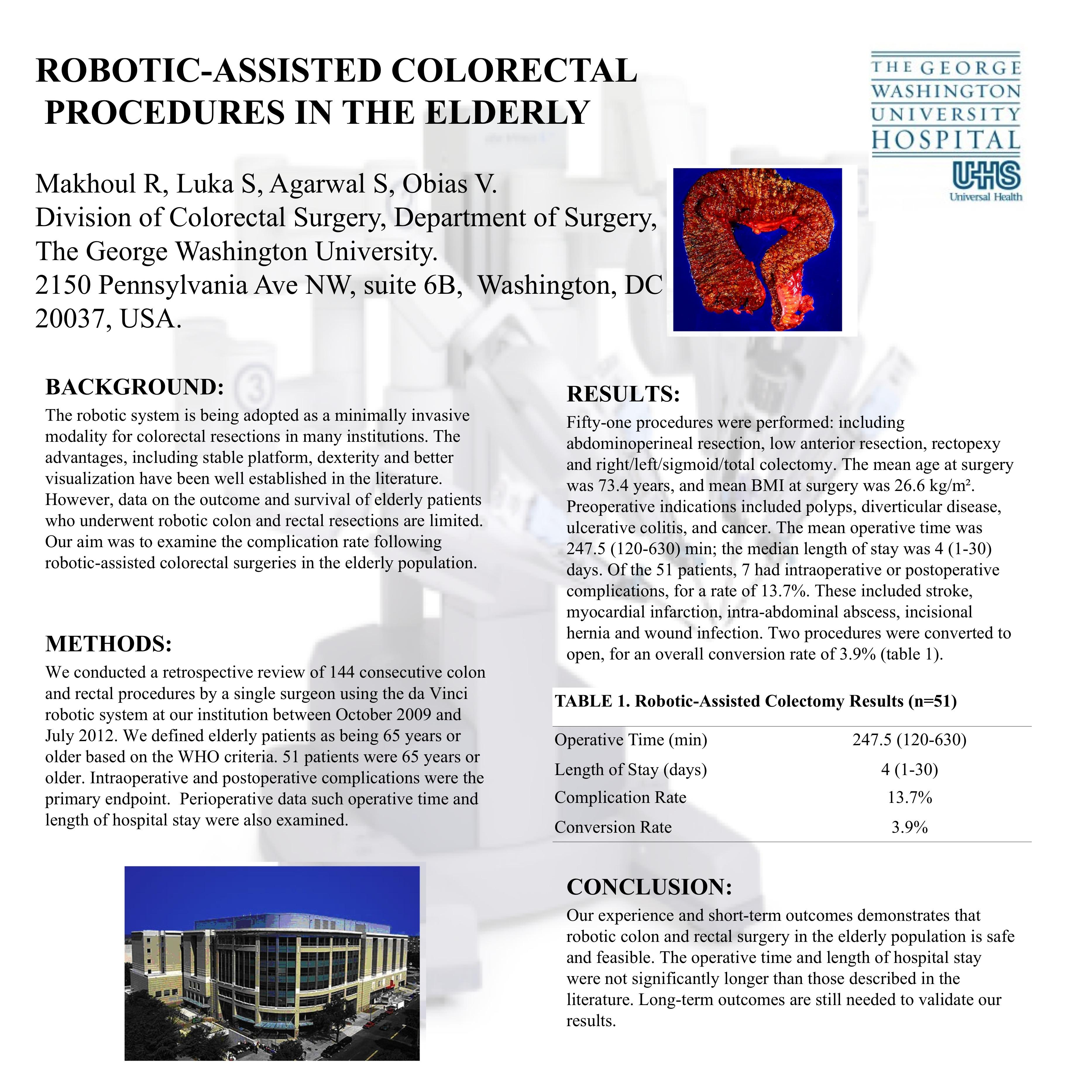 Robotic-Assisted Colorectal Procedures in the Elderly
