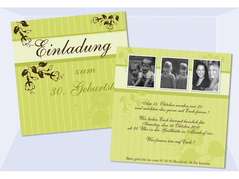 Einladung 30 Geburtstag Geburtstagseinladung Flachkarte