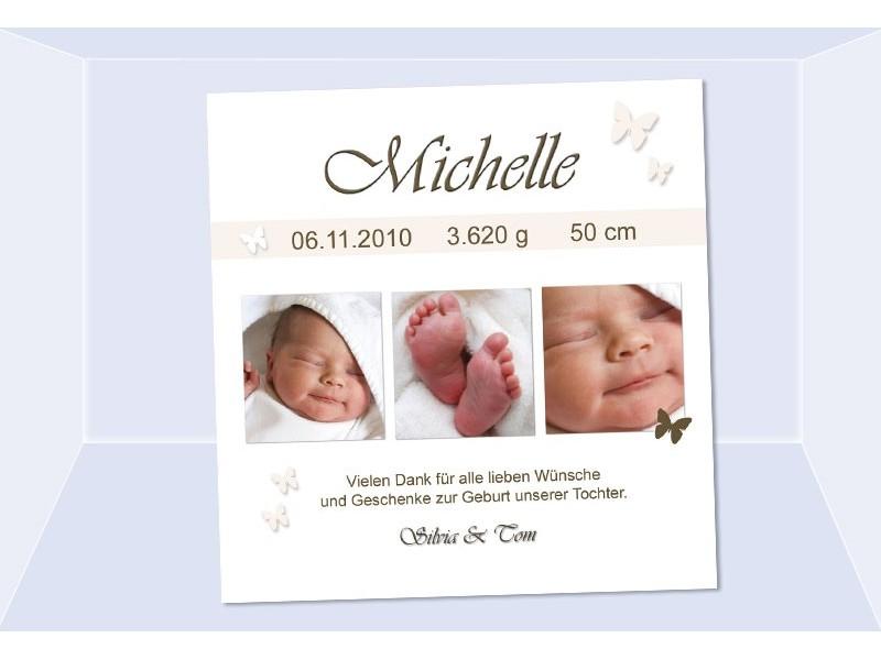 Danksagung Geburt Geburtskarte 10x10 cm creme