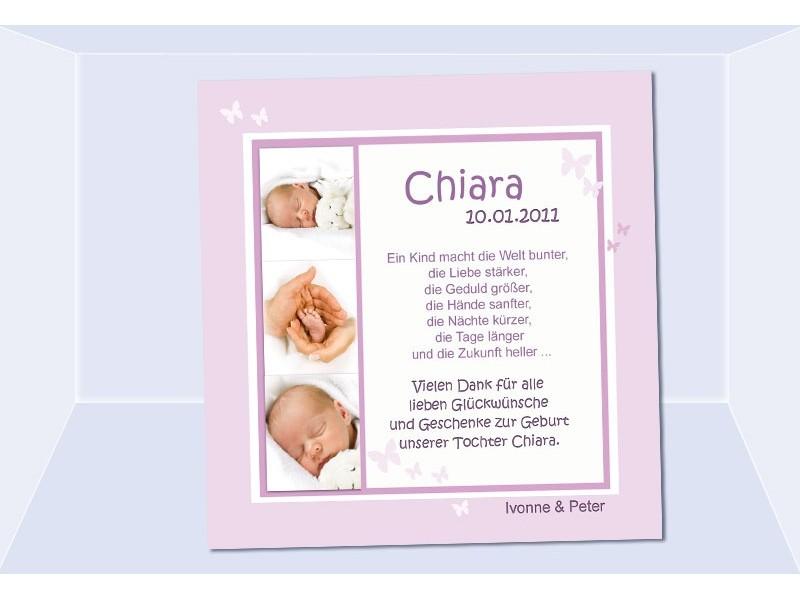 Danksagung Geburt Geburtskarte Babykarte Fotokarte rosa