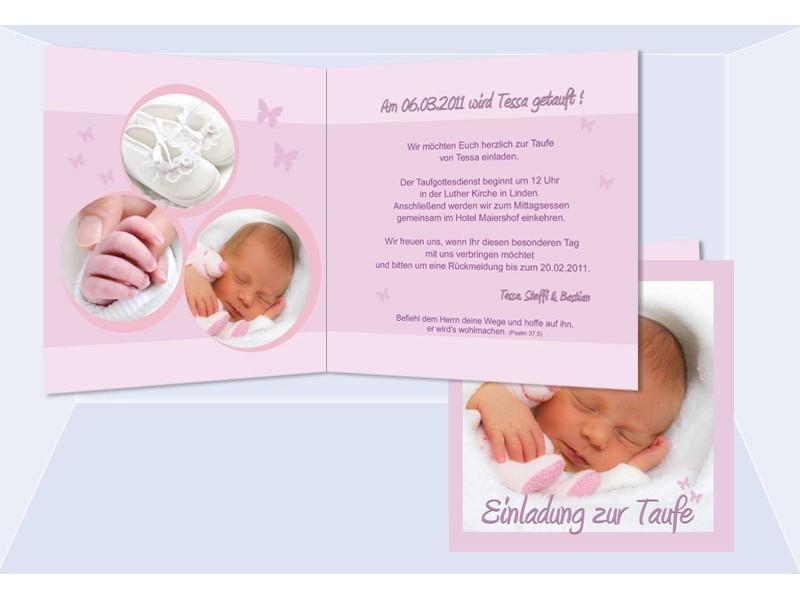 Einladung Taufe Tessa Taufeinladung rosa