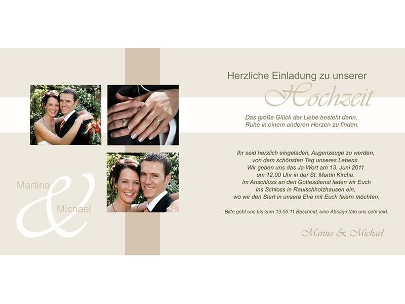 Einladungskarte Hochzeit Romantik Klappkarte Quadrat creme