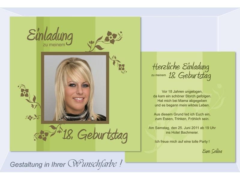 Einladung 18 Geburtstag Geburtstagseinladung Flachkarte grn