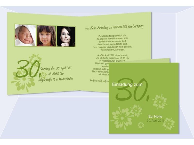 Einladung 30 Geburtstag Klappkarte 125x125 cm lila
