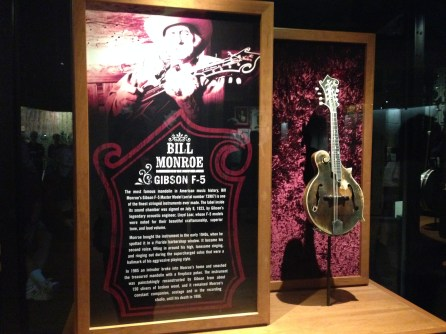 Bill Monroe's Mandolin, gloriously displayed at (debatably) the most important historical institution in country music: The Country Music Hall of Fame and Museum.