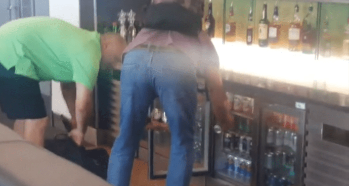 BEERGATE: Two Passengers Caught on Camera Nicking Over 20 Cans Of Beer and Chips From Airport First Class Lounge