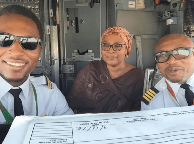 #ProudMummy: Moha Madugu, Air Peace Pilot Flies Mum For The First Time
