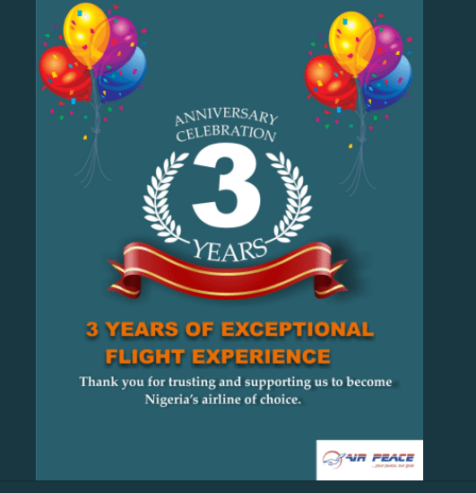 Air Peace Celebrates 3rd Anniversary With 1,000 Free Tickets (How To Win)