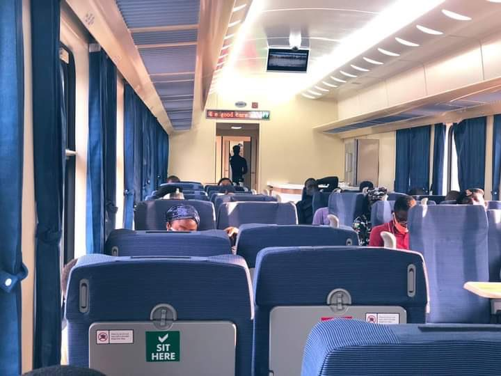 Due to the covid19, the government is making effort to stop the spread of the virus. The Lagos - Ibadan train seats have been clearly marked. There are seats that passengers are not expected to seat. The seats are marked dont seat. The reason is to ensure social distancing