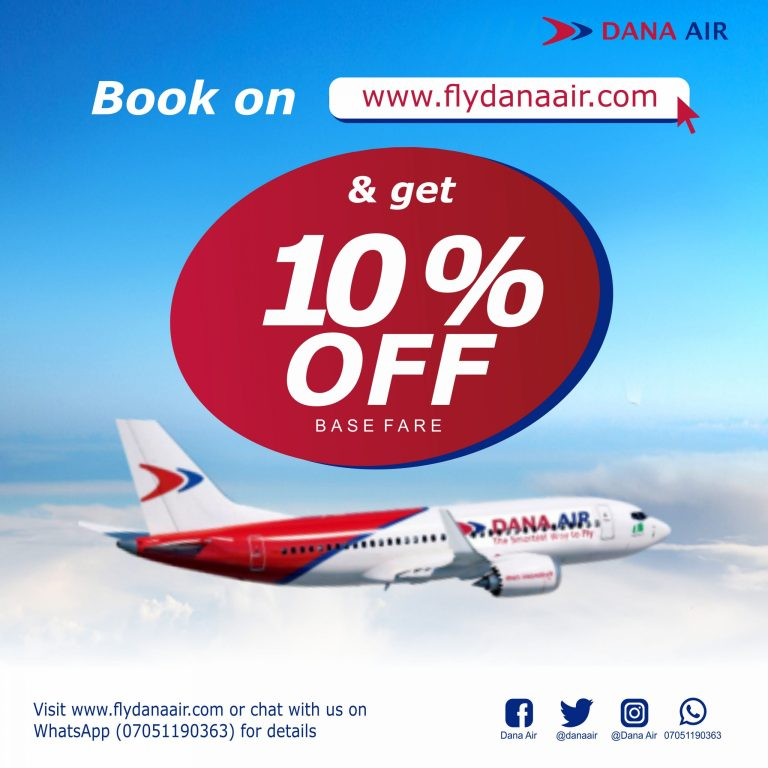 How To Get Dana Air 10% Flight Booking Discount