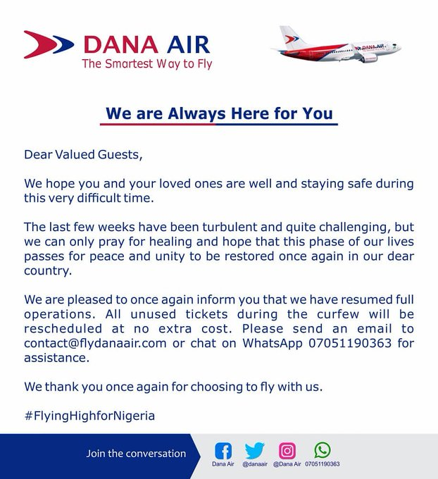 Dana Air Resumes Full Flights to Lagos, PHC, Abuja, Other