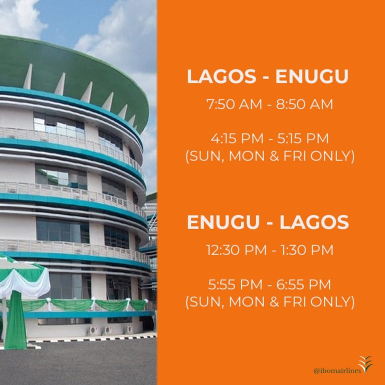 Ibom Air flight from Lagos to Enugu