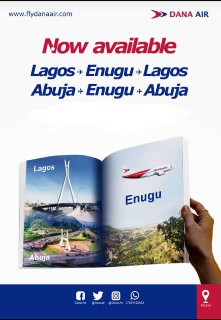 Dana Air Recommence Flights to Enugu from Abuja & Lagos