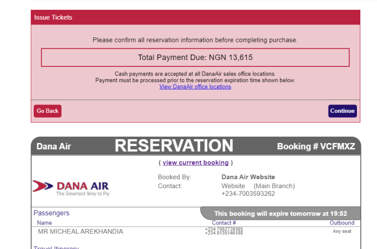 Dana Air Ticket change saved